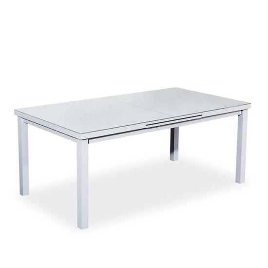 Verone Gris Empilables 180240cm10 Chases Aluminiumverre Table Textilène De Jardin Extensible EHY29WDI