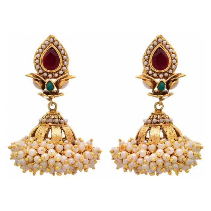 Jfl des femmes - traditionnel ethnique un gramme dor plaqué Pierre Designer Ensemble pendentif avec perles Pour &R803I