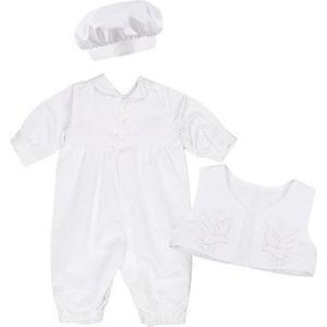 Ensemble de vêtements Costume Baptême Bébé Garçon Barboteuse + Gilet + C
