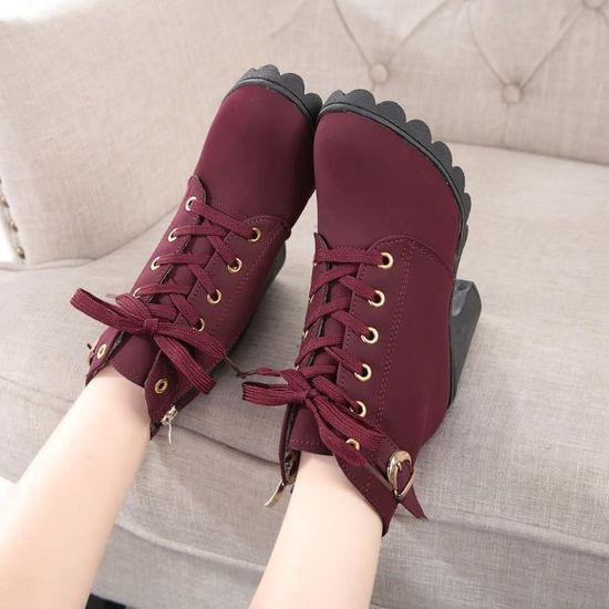 0ee8f07f8f59 36 Pour Bottines Chaussures Talons Lacets À Rouge Hauts Femme vaqUT ...