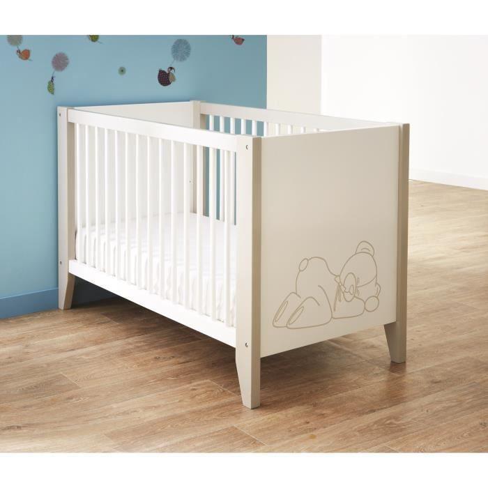 OURSON Lit Bébé à Barreaux 60x120 cm