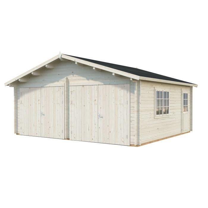 PALMAKO Garage Roger avec porte en Bois - 28,4 m²