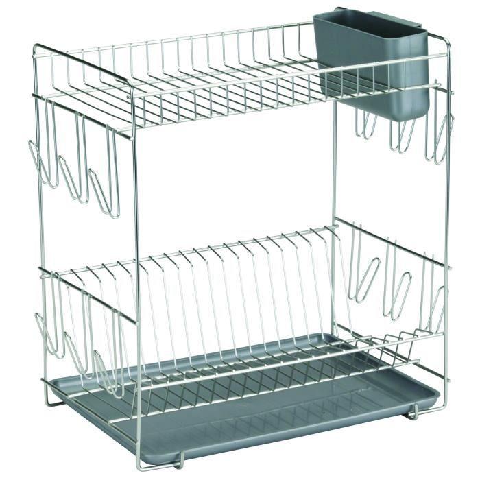 SAUVIC Égouttoir à vaisselle inoxydable avec plateau - Grand modèle - Gris