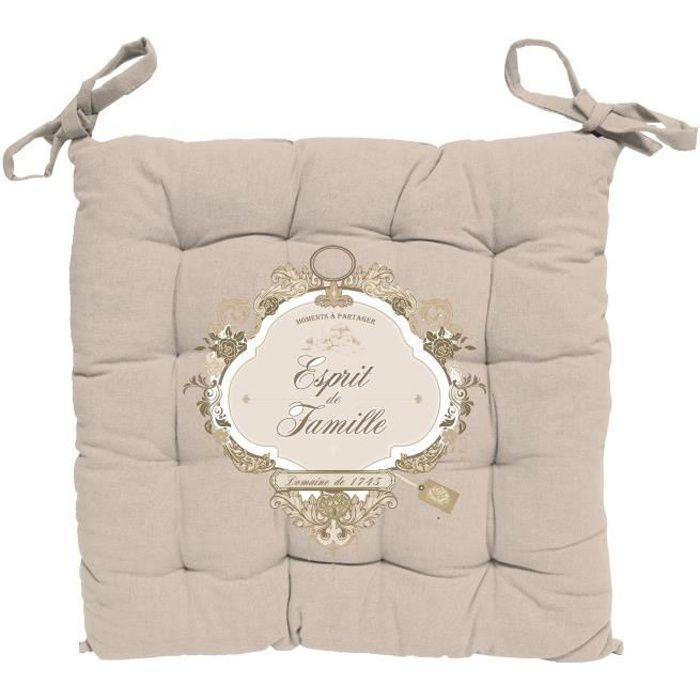 SOLEIL D' OCRE Dessus de chaise capitonné Esprit de Famille 100% coton - 40 x 40 cm - Naturel