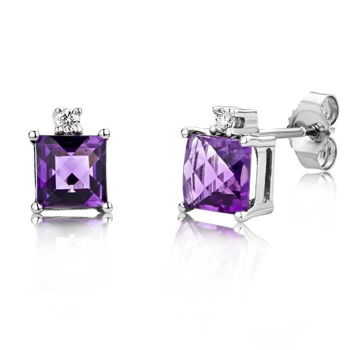 Miore 9 Ct or blanc 0,06 Ct Diamant et Améthyste Coussin carré Boucles doreilles Studs Cut 1VCPZD
