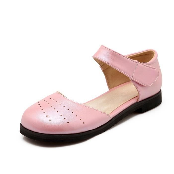 talons hauts-Pure Color Flats Round Sandales To...