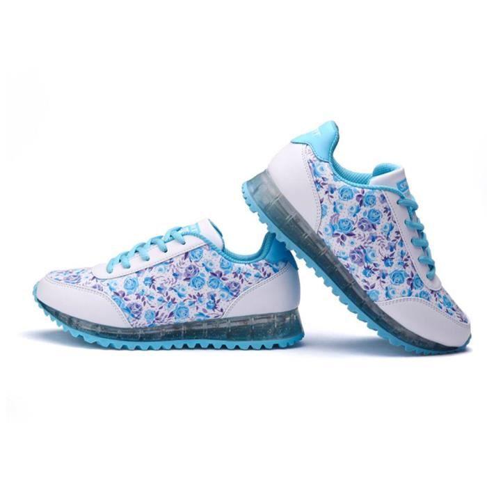 USB de femmes de charge Fluorescent Floral Sneakers 6aQJ7jez