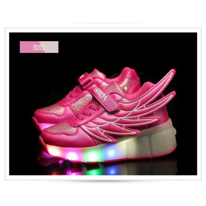 Mode Enfants Angel Wings Series LED Lumineux Enfants Chaussures Casual Boys and Girls Rechargeable Light Haut-top Sneakers