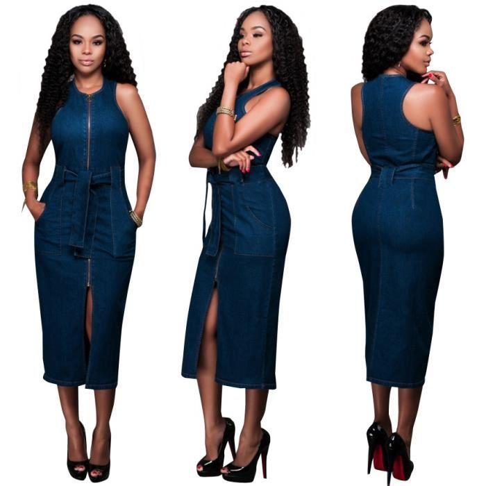 f266ed349b8b Robe en jean denim femme longue moulant fourreau sans manches col rond  Grand Taille avec ceinture fendu sexy zipper poches à côté