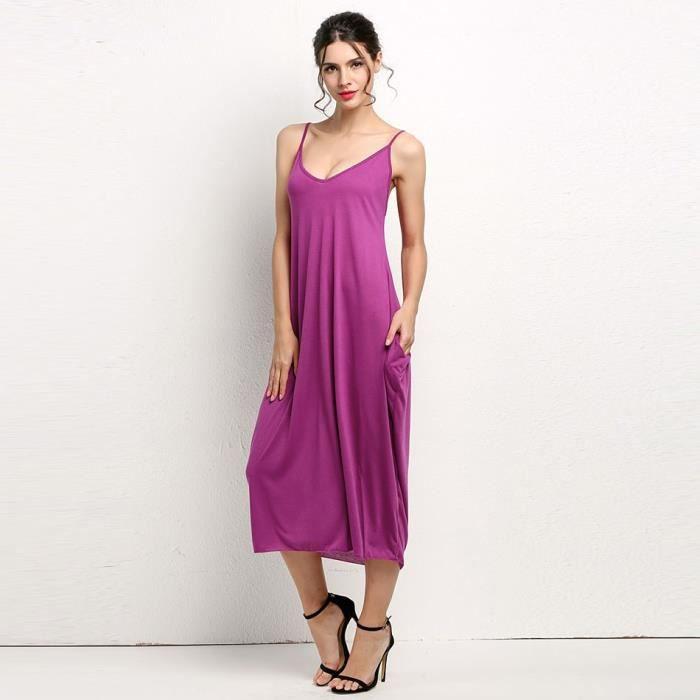 Robe femme longue dété Finejo Robe longue à bretelles robe longue couleur unie Spaghetti sangle plage