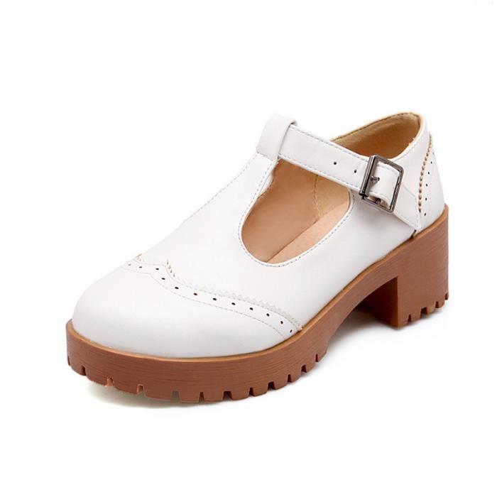 Chaussures Femme Plateforme En PU Cuir Ronde élégante Toutes les pointures de la 35 à la 43