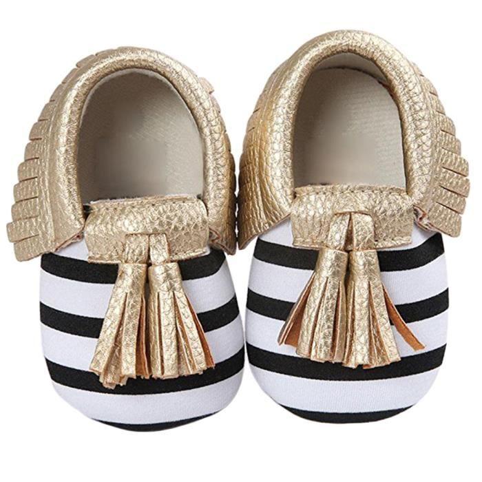 Bodhi@ Infant Toddler bébé garçons filles pompon semelle souple PU Chaussures Doré 6-12 mois