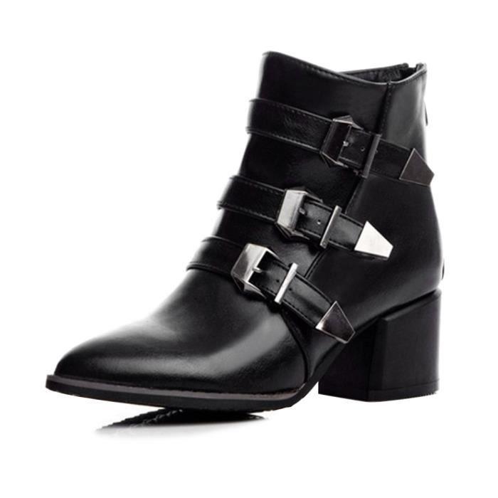 c585fea430bc7 Chaussure Femme Boots Talons Bloc Bouts Pointu Fermeture zippée Noir ...