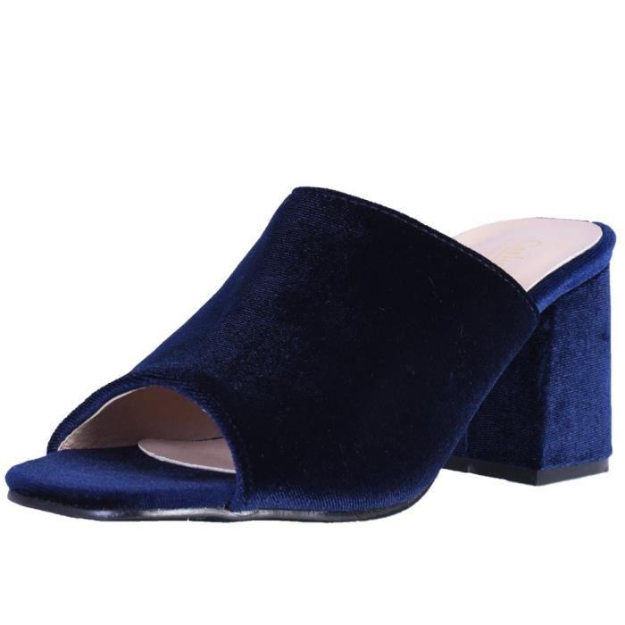 Catherine Malandrino Block Heel Velvet Slide Sandals CGDGA Taille-39