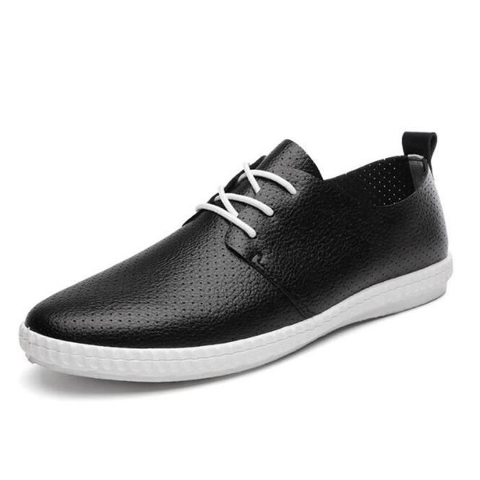 Chaussures Occasionnels Hommes XZ084Noir39 Cuir BDG Casual Ete Chuassures Printemps 4AYcX8Wddq