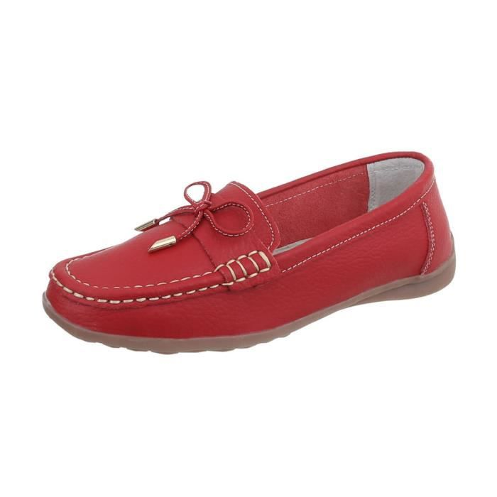 6bb8dee3758a36 Chaussures femme mocassins cuir rouge 35 Rouge Rouge - Achat / Vente ...