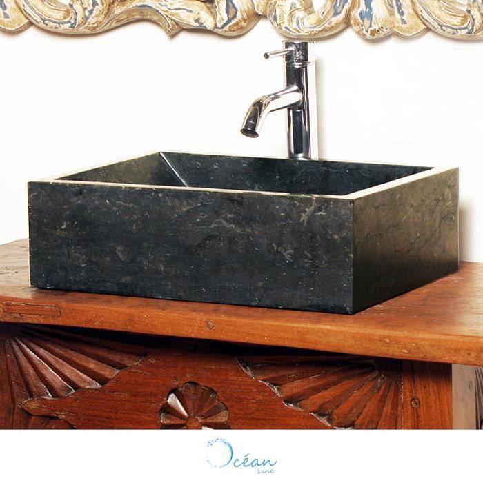 Vasque à Poser Rectango En Marbre Noir Achat Vente Lavabo