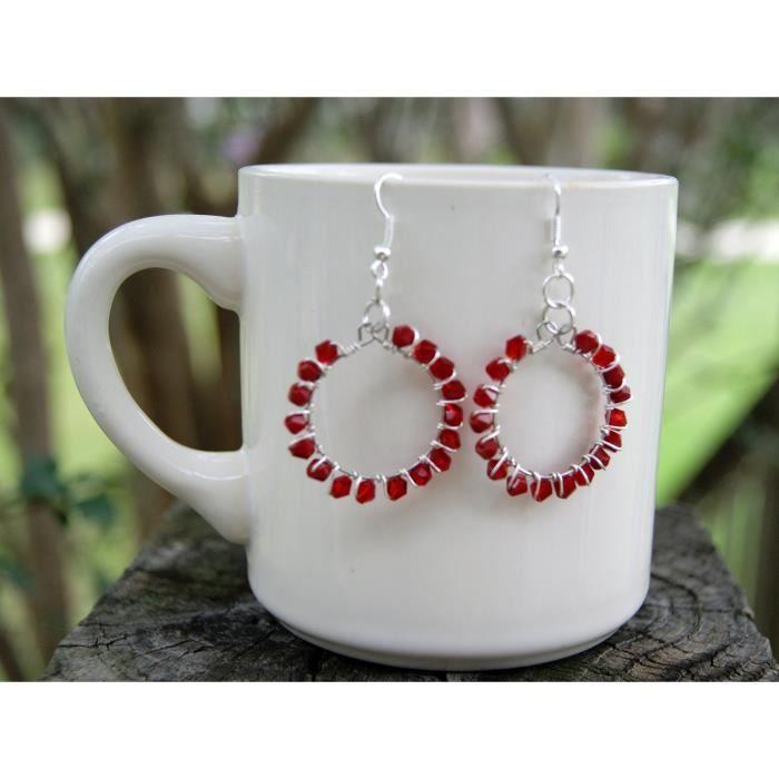 Deep Red cristal de fil de femmes frettés Boucles doreilles E27O2