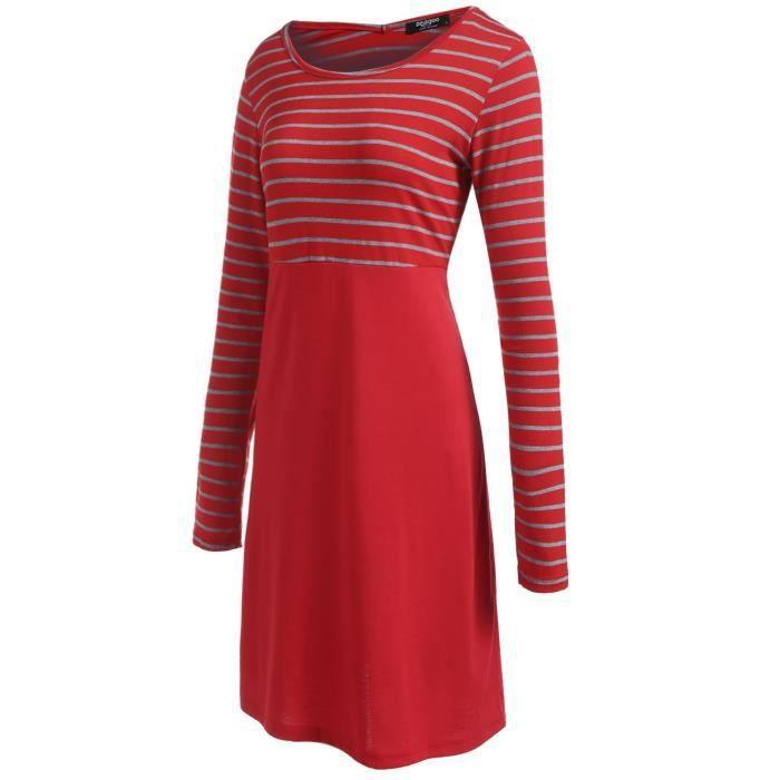 Femme robe rayé couleur contraste moulante à manches longues