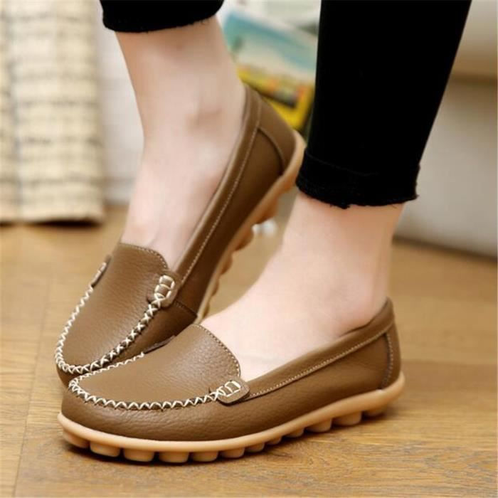 Chaussures plate Femmes Appartements Solides Mère Chaussures Respirantes Grande Taille Cuir Mode Casual Filles Respirant Confortable