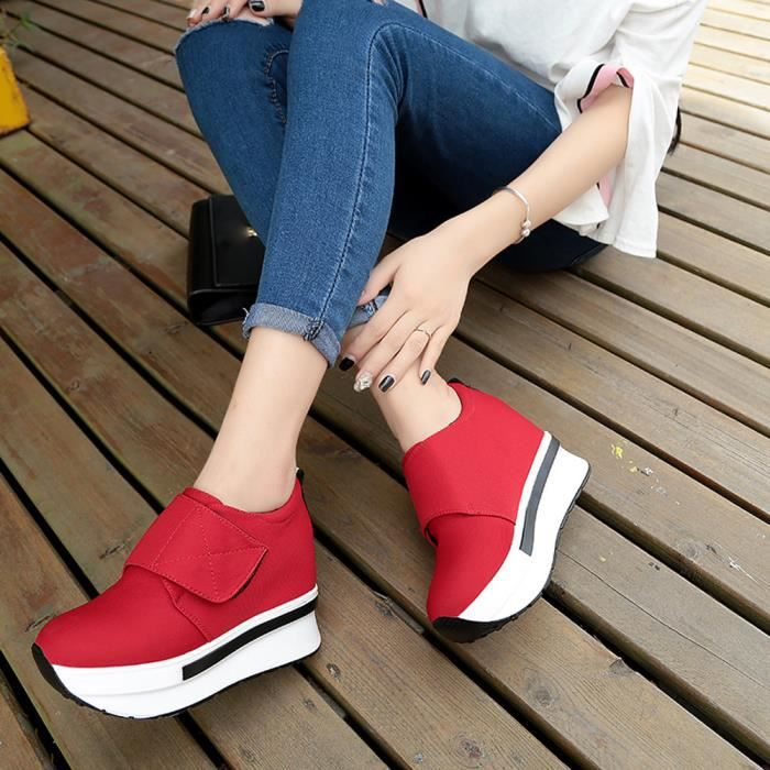 Femmes Wedges Bottes Chaussures Plate-Forme Slip On Bottines Mode Casual Chaussures @XYM71223902RD iZxWuhA