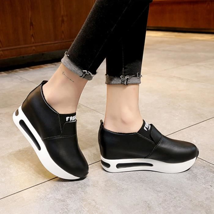 Chaussures Compenses Veberge Femmes Thick forme Plate Mode Slip Casual 289 Sport Sneakers on xxPqgtT