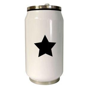 YOKO DESIGN Canette isotherme double paroi 260ml Star blanc étoile noire