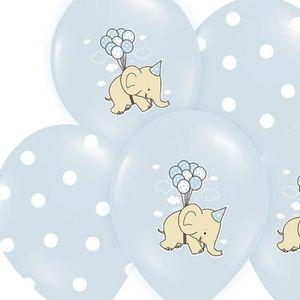 BALLON DÉCORATIF  1 Lot de 6 ballons éléphant bleu et blanc 30cm ann