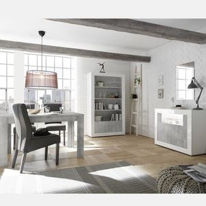 SALLE À MANGER  Séjour moderne blanc et effet béton gris SERENA 5