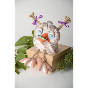 TIRELIRE Tirelire hibou faite main Figurine oiseau en argil