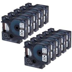 RUBAN - ENCREUR 10er-Pack Compatible Dymo 40913 Noir sur Blanc 9mm