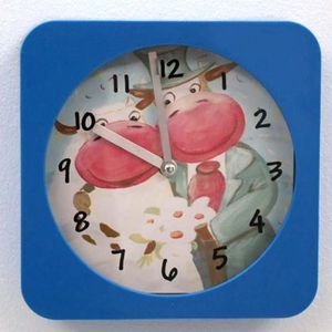 HORLOGE - PENDULE Horloge murale enfant vaches bleu
