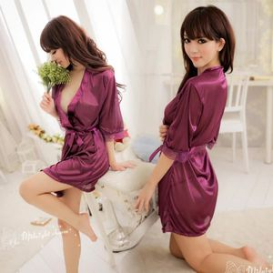 Nuisette - Déshabillé Sexy Nightgowns en satin de soie Nuisettes femmes