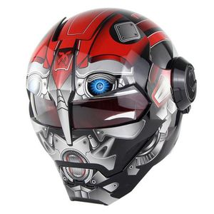 CASQUE MOTO SCOOTER Retro Casque Moto Homme-Femme Iron Man Cosplay Cas