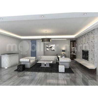 Salon Chesterfield design Blanc Cuir + PVC - Achat / Vente ensemble ...