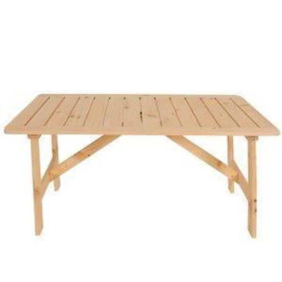 Table de jardin Copenhague bois massif non traité 130x80x71cm ...