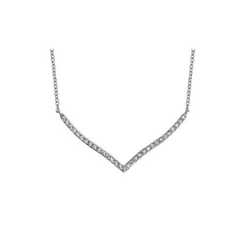 Collier argent rhodié oxydes blancs forme v 40+4cm