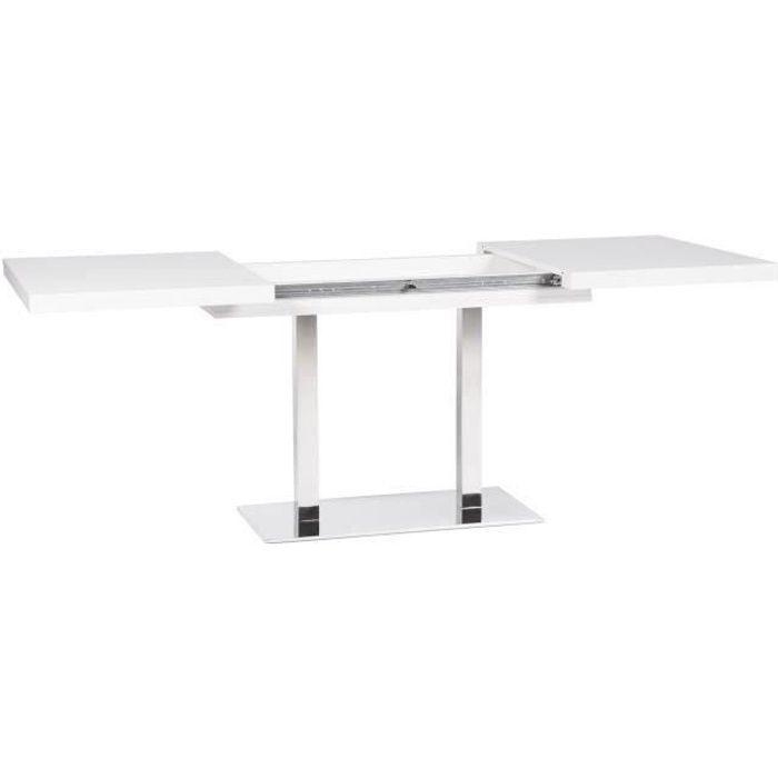 QUADRATO Table à manger extensible de 4 à 8 personnes style contemporain -  Blanc - L 120-200 x l 80 cm 6591518bc934