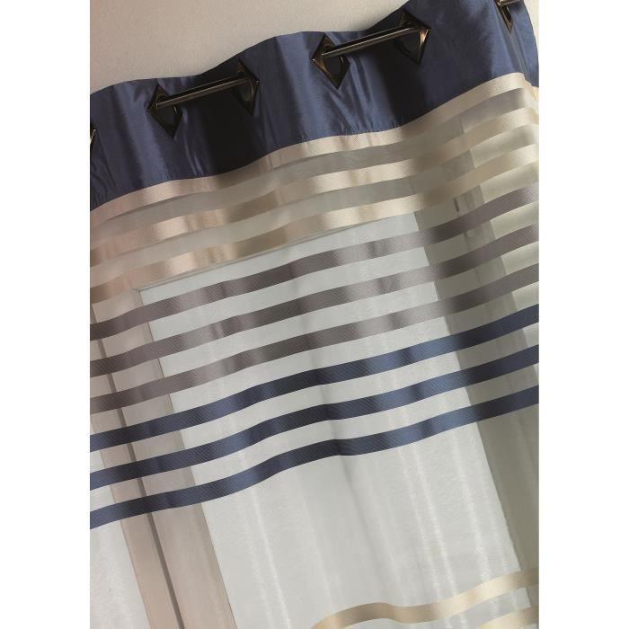 Voilage - Bleu - 140x260cm - 100% Polyester - 8 Œillets bronze carrés - Vendu à l'unité - Prêt à poserVOILE - VOILAGE