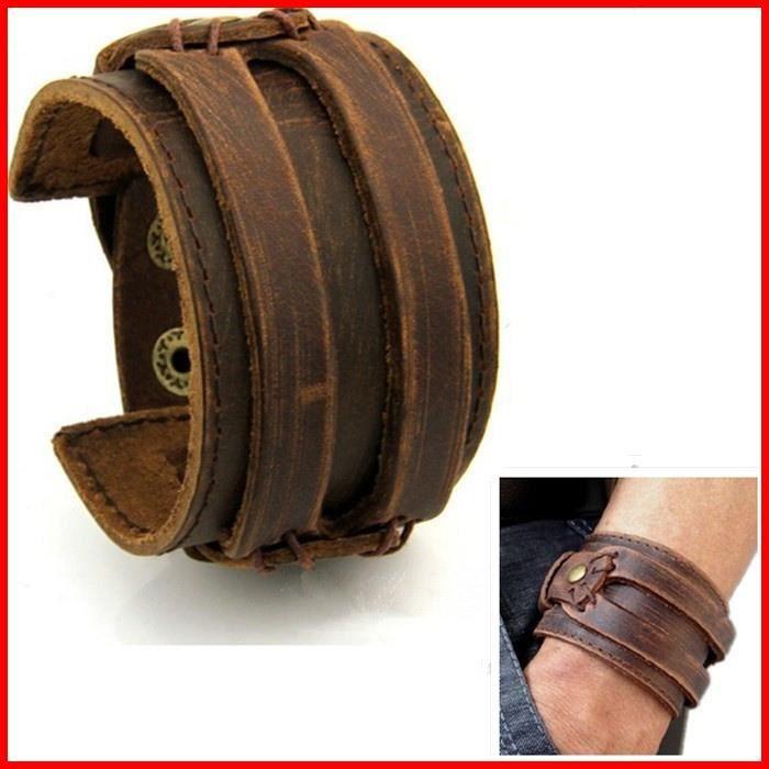 64861e8c5e53 BRACELET - GOURMETTE Bracelet Cuir HOMME FORCE Manchette MARRON Antique