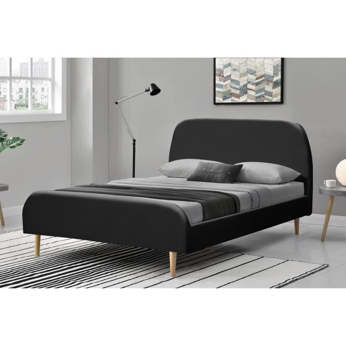 Rubiel Cadre De Lit En Simili Cuir Noir Et Sommier Xcm - Cadre de lit simili cuir