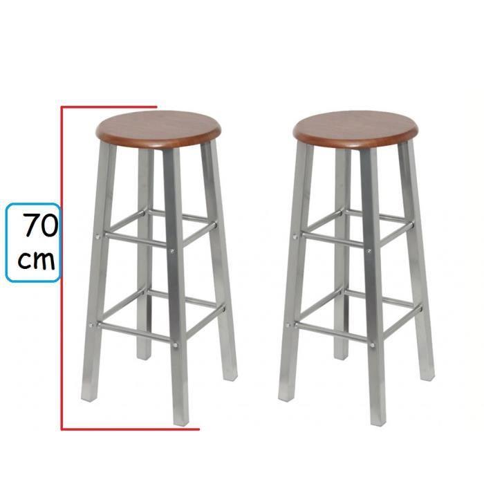 pas cher pour réduction b4729 27eae Lot de 2 tabourets de bar ensemble en bois de mdf et metal hauteur 70 cm