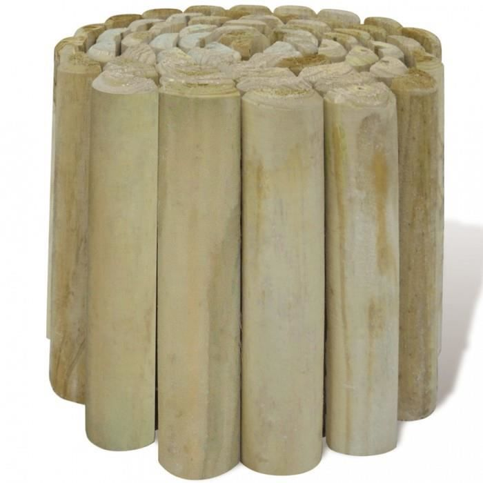 Clotures Rouleau bordure en bois pour jardin 4 pcs