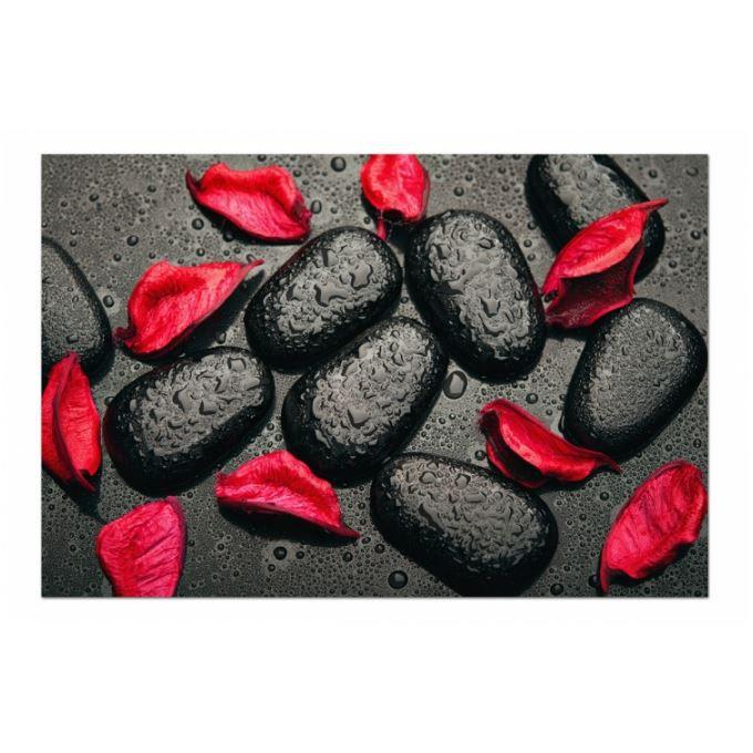 Tableau zen Galets noirs et feuilles rouges - Achat / Vente tableau ...