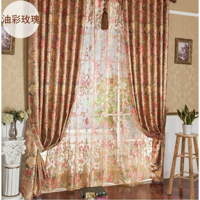 Magnifiques taffetas fleuri rideaux modernes pour le salon for Rideau chambre a coucher adulte