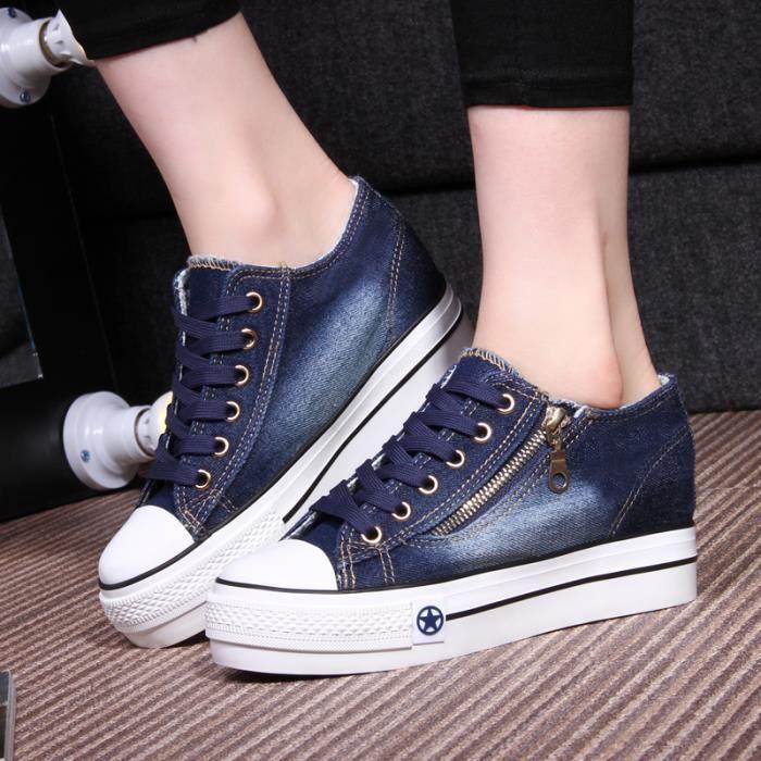 nouvelle mode toile talon des femmes chaussures avec fermeture glissi re lat rale lifed 8dWhm1djN5