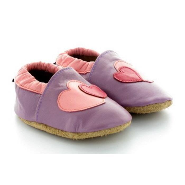 CHAUSSON - PANTOUFLE Chaussons Bébé en Cuir Souple Coeur Violet
