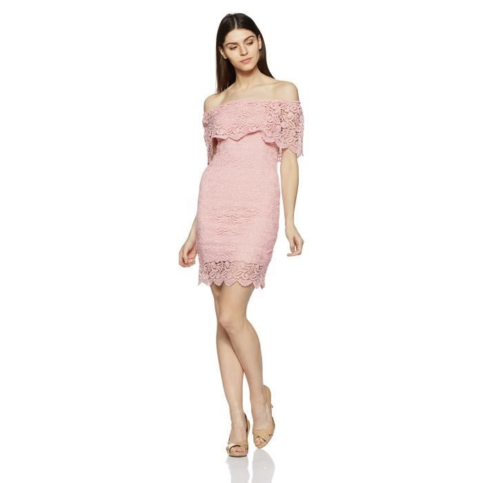 Womens Body Con Lace Knee-long Dress H2E8Q Taille-38