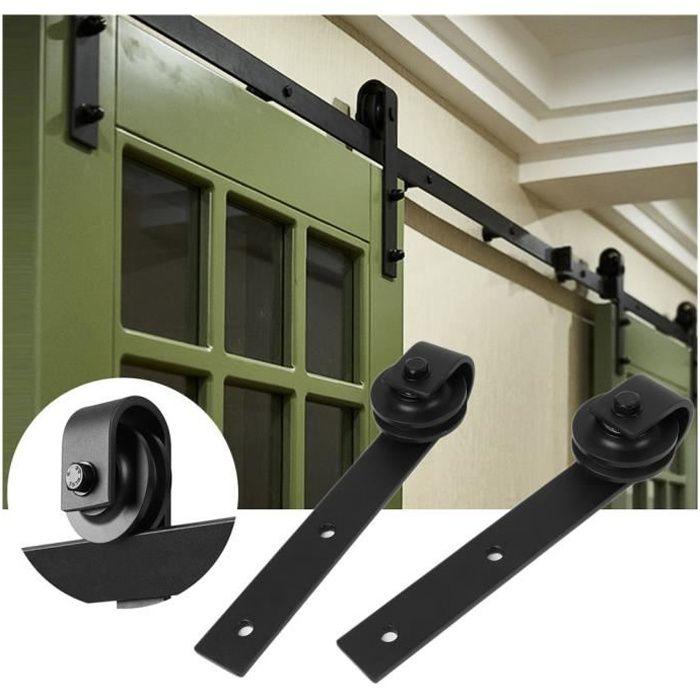 kit de roulette pour porte coulissante 6ft-183cm quincaillerie kit de rail roulettes pour porte coulissante pour  porte suspendue en bois(porte non inclus)