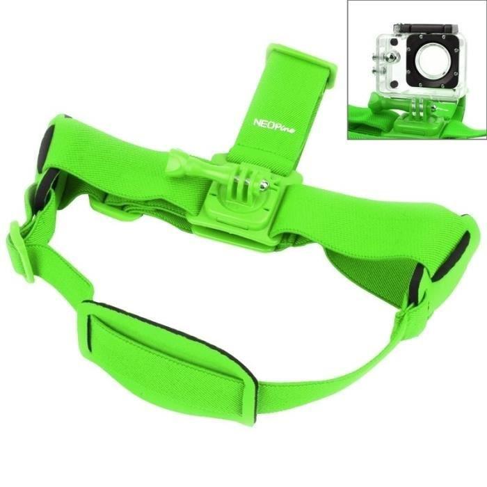 Style magnifique dernière conception bonne qualité Bandeau tête Support casque GoPro NEOpine GHS-2 Réglable Action Camera Fixe  Sangle HERO4 3 3-2-1 Xiaomi Yi Sport Caméra Vert
